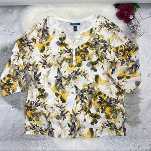 Karen Scott Women's 3/4 Sleeve Floral Top Size 1X